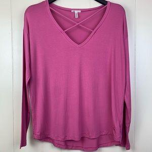 PINK   'Super Soft' Pink Long Sleeve Front X Detai
